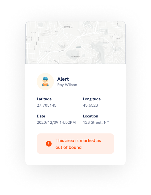 Get geofence alerts instantly whenever the device is out of radius